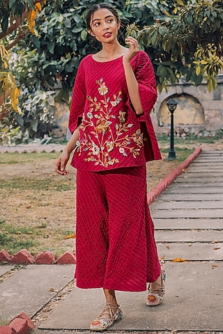 Cherry Red Hand Embroidered Pant Set by Oushk By Ussama Shabbir