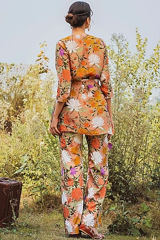 Dusty Peach Printed Pant Set by Oushk By Ussama Shabbir