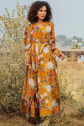 Mustard Printed Dress With Full Sleeves by Oushk By Ussama Shabbir