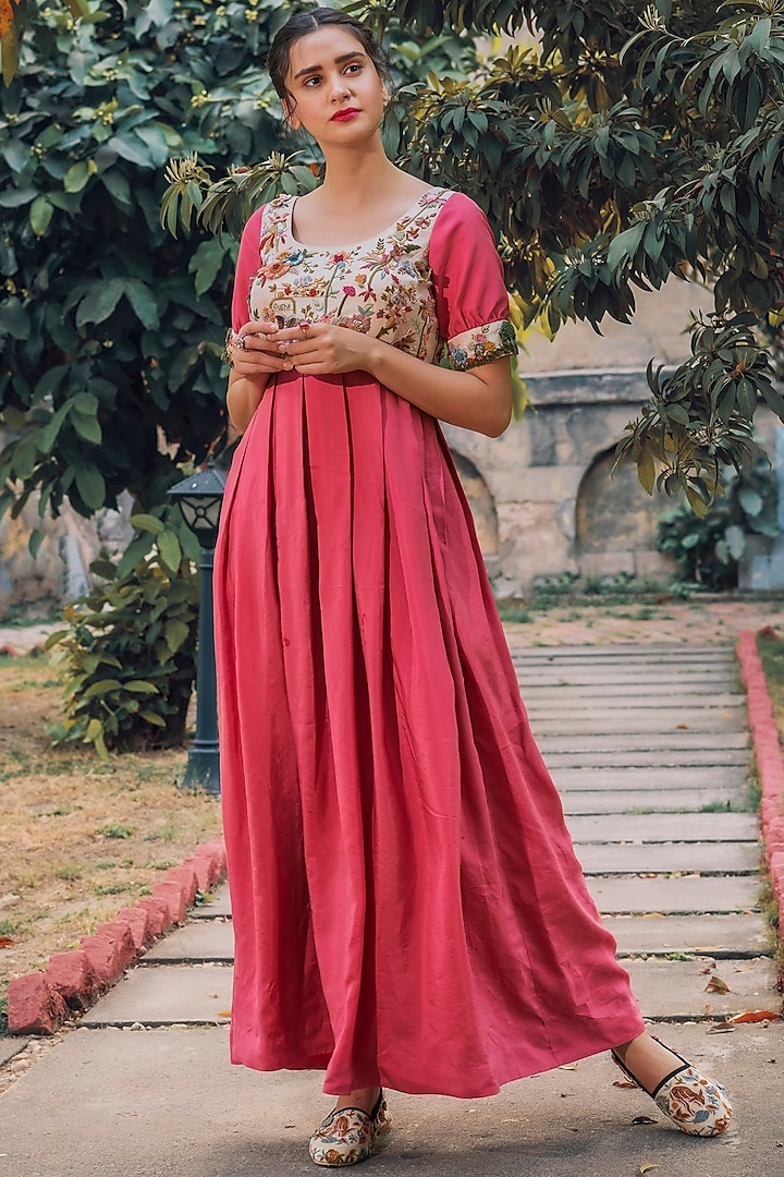 Cherry Red Pleated & Embroidered Dress by Oushk By Ussama Shabbir