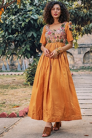 Mustard Pleated & Embroidered Dress by Oushk By Ussama Shabbir