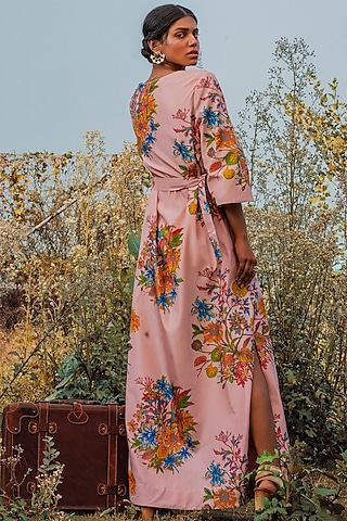 Pink Printed Dress With Belt by Oushk By Ussama Shabbir