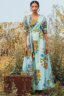 Blue Printed Dress With Belt by Oushk By Ussama Shabbir-OUSHK BY USSAMA SHABBIR