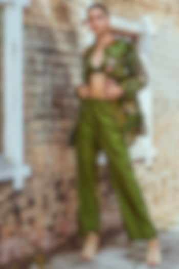 Green Hand Embroidered Jacket Set by Oushk By Ussama Shabbir