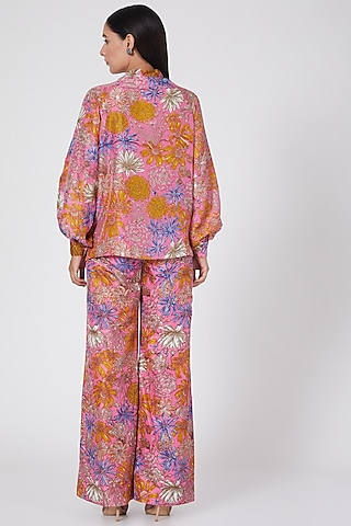 Pink Hand Printed Pant Set by Oushk By Ussama Shabbir