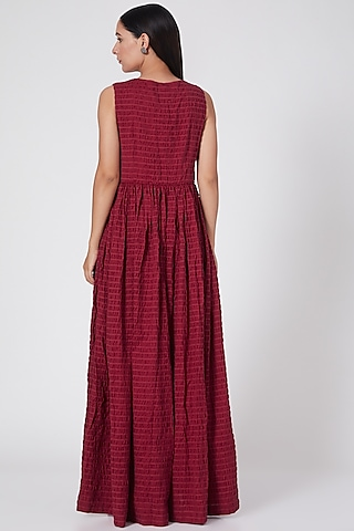 Maroon Hand Embroidered Crushed Dress by Oushk By Ussama Shabbir