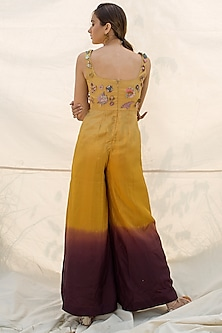 Mustard & Purple Ombre Embroidered Jumpsuit by Oushk by Ussama Shabbir