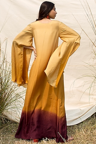 Mustard & Purple Embroidered Kaftan by Oushk by Ussama Shabbir