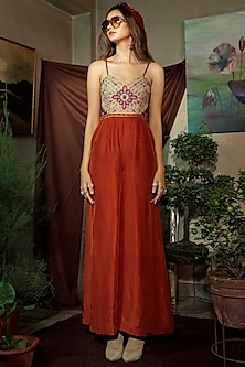 Reddish Rust Embroidered Jumpsuit by Oushk by Ussama Shabbir
