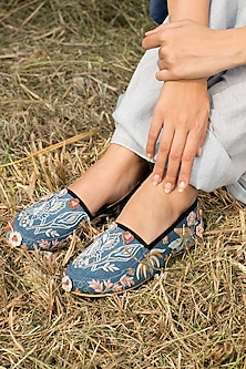 Blue Embroidered Espadrille Shoes by Oushk by Ussama Shabbir