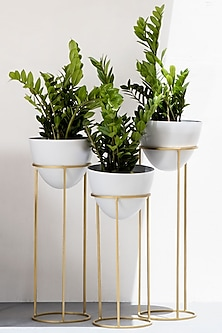 Egg Shaped White & Gold Iron Planter (Set of 3) by The Decor Remedy