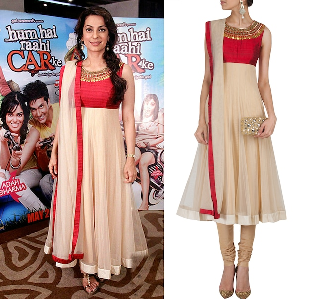 Beige and red anarkali set by Arpita Mehta