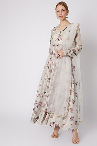 Silver Printed Anarkali With Dupatta by Paulmi & Harsh