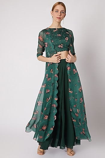 Emerald Green Printed & Embroidered Jacket Set by Paulmi & Harsh
