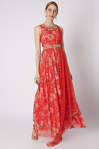 Red Embroidered & Printed Anarkali With Attached Dupatta & Belt by Paulmi & Harsh