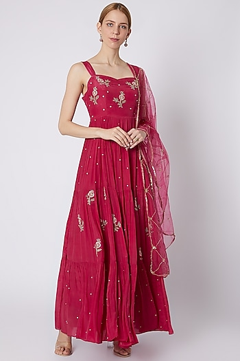 Fuchsia Pink Embroidered Anarkali With Dupatta by Paulmi & Harsh