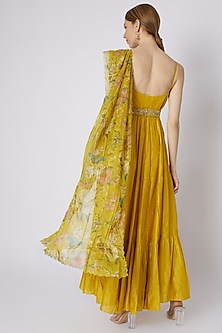 Mustard Anarkali With Printed Dupatta & Embroidered Belt by Paulmi & Harsh