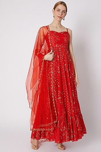 Red Printed Anarkali With Dupatta by Paulmi & Harsh