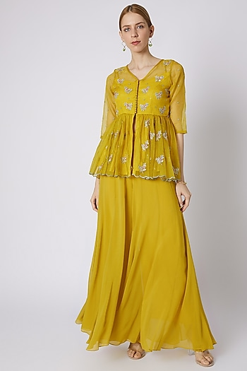 Mustard Embroidered Peplum Blouse With Palazzo Pants by Paulmi & Harsh