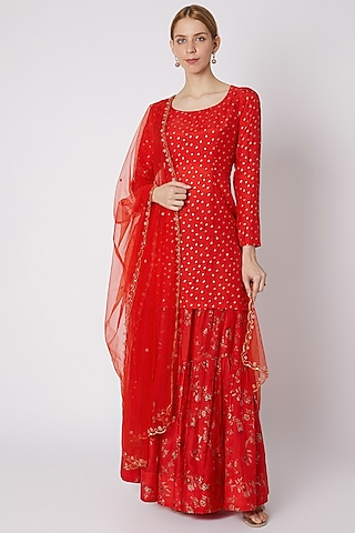 Red Printed Kurta Set by Paulmi & Harsh