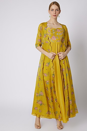 Mustard Embroidered Anarkali With Jacket by Paulmi & Harsh