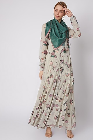 Silver Printed Wrap Around Anarkali With Inner & Scarf by Paulmi & Harsh