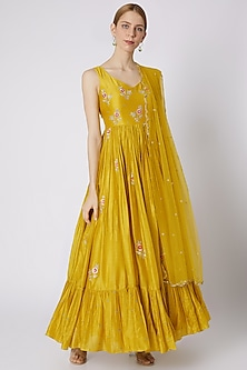 Mustard Embroidered Anarkali With Dupatta by Paulmi & Harsh