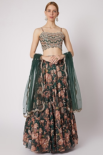 Emerald Green Printed & Embroidered Lehenga Set by Paulmi & Harsh