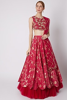 Fuchsia Pink Embroidered Lehenga Set by Paulmi & Harsh