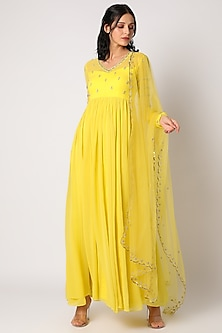 Yellow Embroidered Anarkali Set by Paulmi & Harsh-READY TO SHIP GIFTS