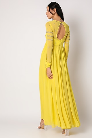 Yellow Embroidered Anarkali Set by Paulmi & Harsh