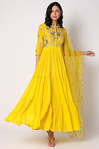 Yellow Embroidered Anarkali With Dupatta by Paulmi & Harsh