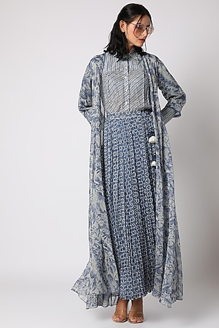Indigo Blue Printed Skirt Set by Paulmi & Harsh