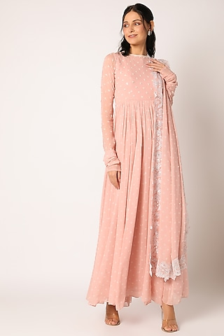 Baby Pink Embroidered Anarkali Set by Paulmi & Harsh