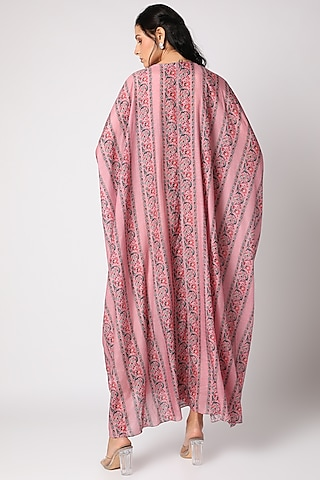 Blush Pink Printed Kaftan With Inner by Paulmi & Harsh