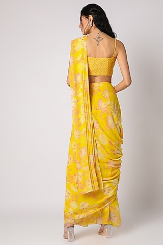 Yellow Printed Saree With Embroidered Blouse by Paulmi & Harsh