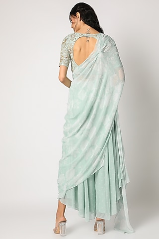 Sky Blue Embroidered Palazzo Pant Set by Paulmi & Harsh