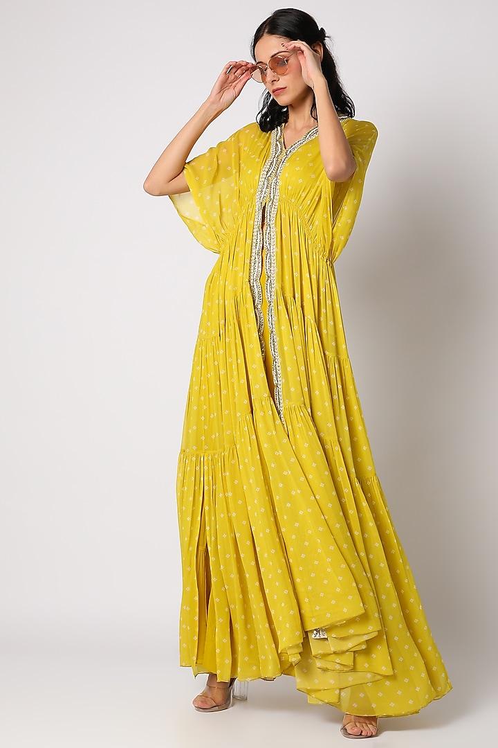 Yellow Embroidered Sharara Set by Paulmi & Harsh