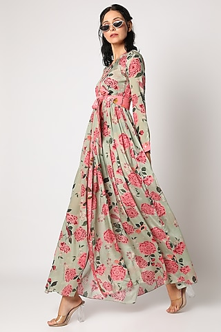 Mint Green & Pink Printed Maxi Dress by Paulmi & Harsh