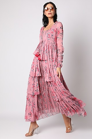 Off White & Pink Embroidered Dress With Jacket by Paulmi & Harsh