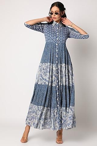 Indigo Blue Printed Shirt Dress With Inner by Paulmi & Harsh