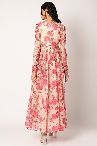 Pink & Beige Printed Anarkali With Dupatta by Paulmi & Harsh