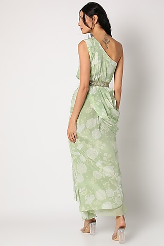 Mint Green Printed Skirt Set by Paulmi & Harsh