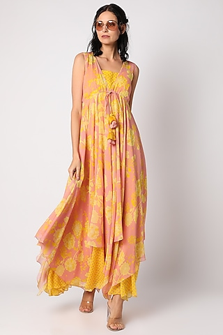 Yellow Printed Maxi Dress With Inner by Paulmi & Harsh