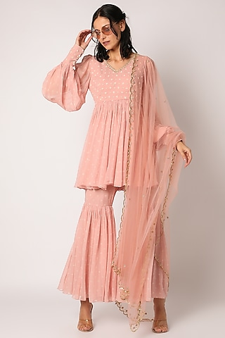 Baby Pink Embroidered Sharara Set by Paulmi & Harsh
