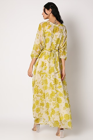 Mehendi Green Printed Kaftan With Inner by Paulmi & Harsh