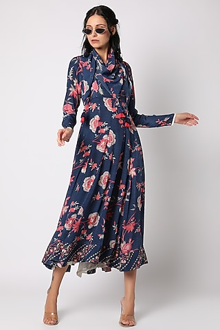 Navy Blue Printed Anarkali With Scarf by Paulmi & Harsh