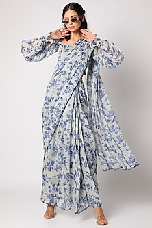 Indigo Blue Printed Pre-Draped Saree Set by Paulmi & Harsh