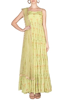 Lime Green Embroidered Printed Anarkali With Dupatta by Paulmi & Harsh