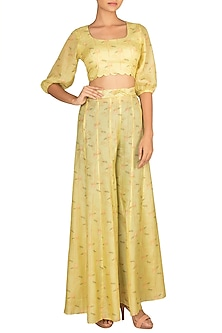 Lime Yellow Embroidered Printed Crop Top With Palazzo Pants by Paulmi & Harsh